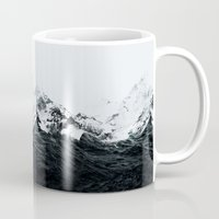waves Mugs featuring Those waves were like mountains by Robert Farkas