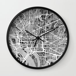 Washington DC City Street Map Wall Clock