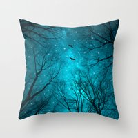 black Throw Pillows featuring Stars Can't Shine Without Darkness  by soaring anchor designs