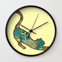 jewish Wall Clocks featuring I love you, kitten by Brown Eyed Lady