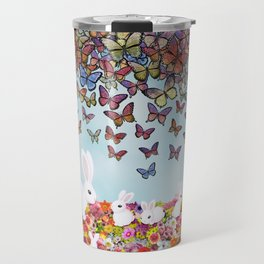 bunnies, flowers, and butterflies Travel Mug