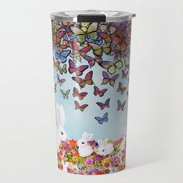 bunnies, flowers, and butterflies Travel Mug