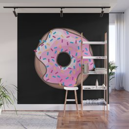 Pink Donut on Black Wall Mural