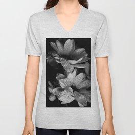 Flower and drops. Black and white. Unisex V-Neck