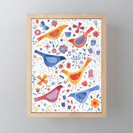 Birds in a Garden Framed Mini Art Print