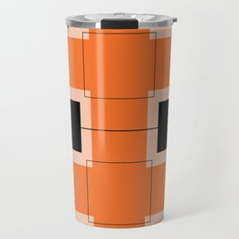 White Hairline Squares in Orange Travel Mug