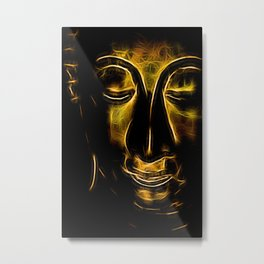 Buddha Facial golden Metal Print