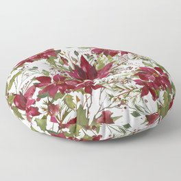 Poinsettia Flowers Floor Pillow