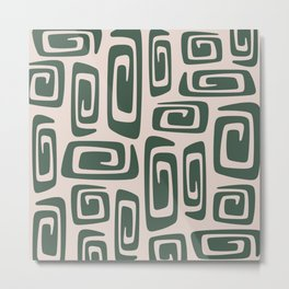 Mid Century Modern Cosmic Abstract 514 Green and Beige Metal Print