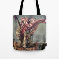 kaiju Tote Bags featuring Fringehead Kaiju by Rushelle Kucala Art