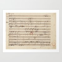 mozart Art Prints featuring Mozart by Le petit Archiviste