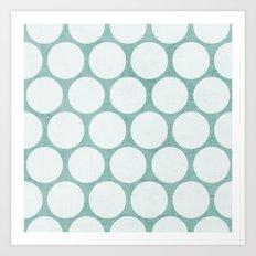robins egg blue and white polka dots Art Print