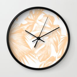 Island Vacation Hibiscus Palm Coral Wall Clock