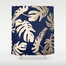 Simply Palm Leaves in White Gold Sands on Nautical Navy Shower Curtain