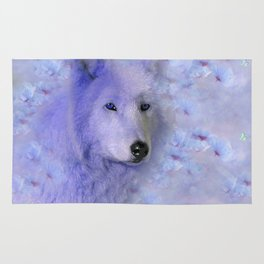 WOLF BLUE LILAC PURPLE FLOWER SPARKLE Rug