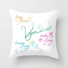 Vegan & happy lifestyle Throw Pillow