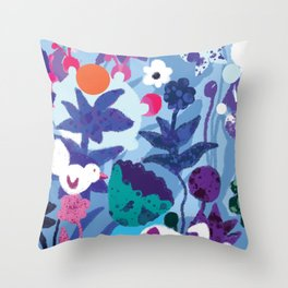 Bird and Dog in Blue Garden Throw Pillow