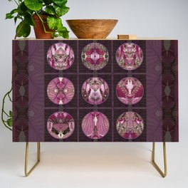 Red Shiso Positive Messages Quilt Art Credenza