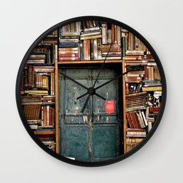 Vintage Door Surrounded by Library Books Wall Clock