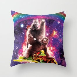 Space Cat Llama Sloth Riding Taco Throw Pillow