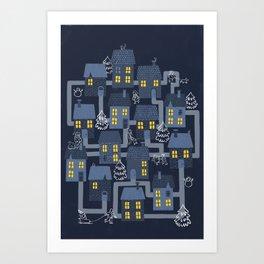 Houses and Christmas Art Print