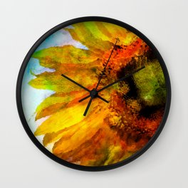 Sunflower on colorful watercolor background - Flowers Wall Clock