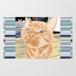 Oliver the Sniffy Red Tabby Cat Rug