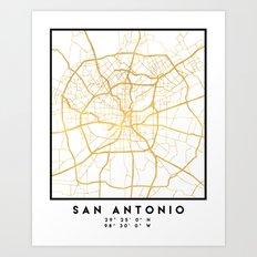 SAN ANTONIO TEXAS CITY STREET MAP ART Art Print
