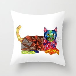 Colourful Geomatric Cat Throw Pillow