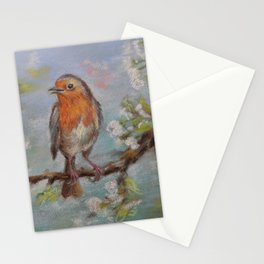 Red Robin Small bird on a blooming twig Wildlife spring scene Pastel drawing Stationery Cards