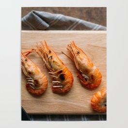 Grilled shrimps on wooden board Poster