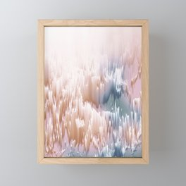 Etherial light in blush and blue - Glitch art Framed Mini Art Print
