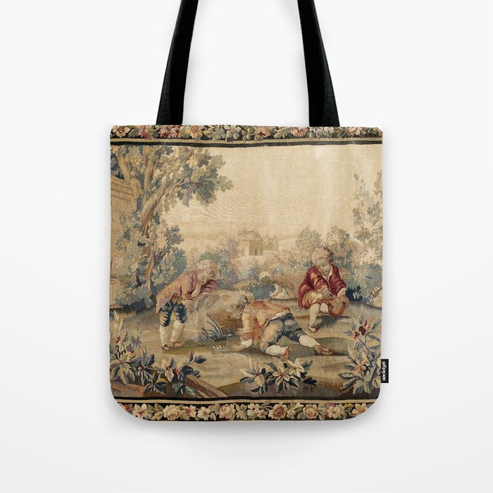 Aubusson  Antique French Tapestry Print Tote Bag
