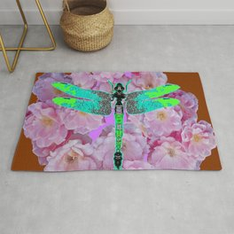EMERALD DRAGONFLY PINK ROSES COFFEE BROWN Rug