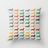 dachshund Throw Pillows featuring Dachshund by Opul