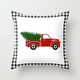 Black and White Buffalo Check Gingham Plaid framed Christmas Truck with Tree Throw Pillow