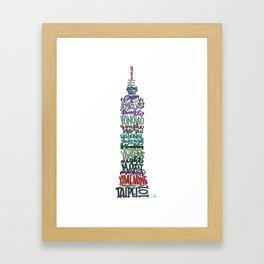 Hand Lettered Taipei 101 - Color Framed Art Print