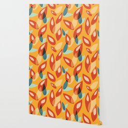 Orange Blue Yellow Abstract Autumn Leaves Pattern Wallpaper