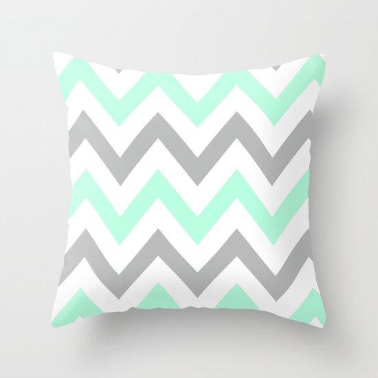 MINT & GRAY CHEVRON Throw Pillow