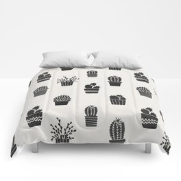 Southwestern Stamped Potted Cactus + Succulents Comforters