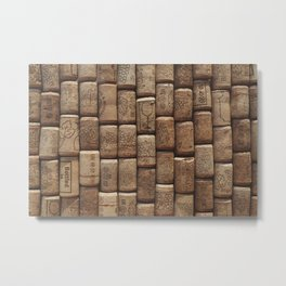 Wine corks background. Side view close up Metal Print