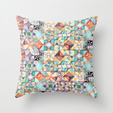 watercolour quilt Throw Pillow