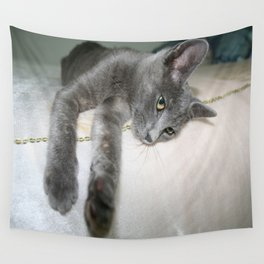 Russian Grey Cross Tabby Cat  Wall Tapestry