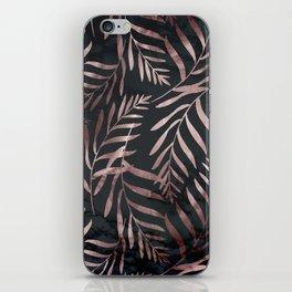 Rose Gold Leaves on Dark Gray Black iPhone Skin