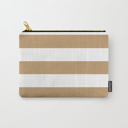 Wood brown - solid color - white stripes pattern Carry-All Pouch