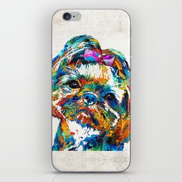 Colorful Shih Tzu Dog Art By Sharon Cummings iPhone Skin