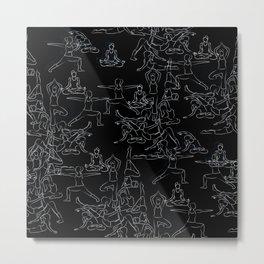 Chalkboard Yoga Pattern - white on black Metal Print