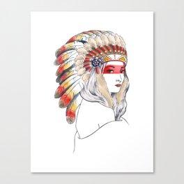 Girl with Native American War Bonnet Canvas Print