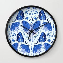 Vintage Blue Moths Wall Clock