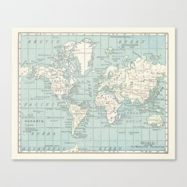 World Map in Blue and Cream Leinwanddruck